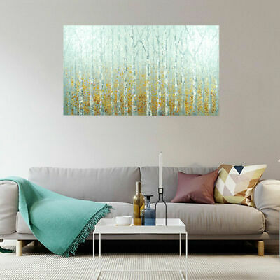 Abstract Hand Painted Art Canvas Oil Painting Modern Wall White Birch Framed