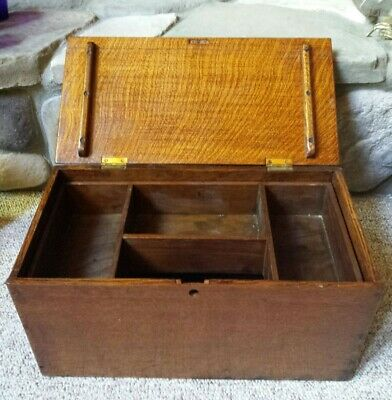 Antique Quarter Sawn Tiger Oak Carpenters Box Seamstress Sewing Case With Tray