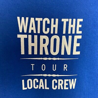 Jay-Z Kanye West 2011 Watch The Throne Tour Local Crew T-shirt XL Blue New