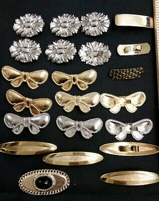 LOT of 22 - Vintage Gold Silver Small Metal Belt Buckles Women Bow Bar Flower
