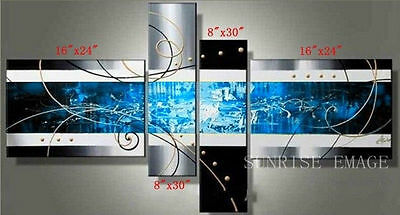 YH155 4PCS Hand painted Oil Canvas Wall Art Home Decor modern Abstract NO Frame