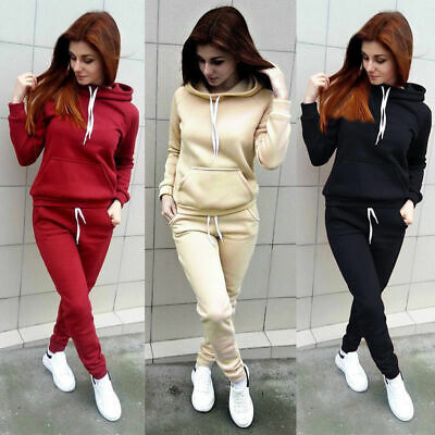 2Pcs Women Hoodies Sports Tops Pants Sweatshirt Tracksuit Sweat Suit Jogging Set