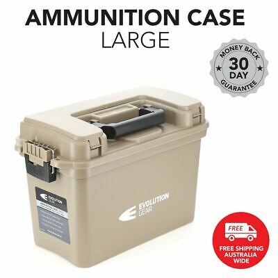 Large Ammunition Case Weatherproof Ammo Dry Box Hunting Sealed Desert Tan