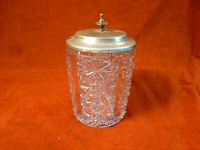 Vintage Cut Glass Relish  Castor with Lid    Would be a nice Q-Tip Holder