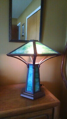 Handmade Mission Style Slag Glass Table Lamp Arts & Crafts Decor Look