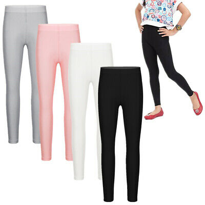 Girl Kid Plain Leggings Pants Seamless Solid Color Stretchy Tught Long Trousers