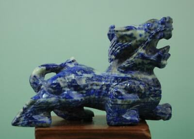 Chinese old Lapis Lazuli hand-carved unicorn Pi Xiu statue 22 f02