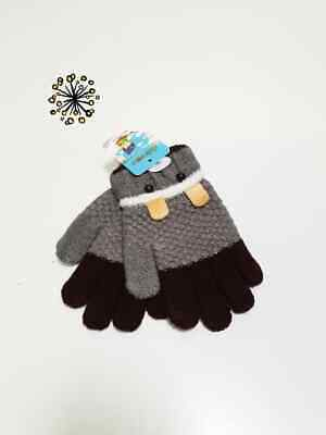 Boy Glove Full Finger Knit Warm Winter Fashion Mittens CX30A Grey Brown