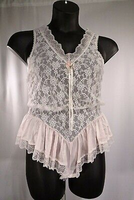 """Vtg Tosca Soft Pink Lace Teddy """"Easy Access Gusset"""" /100% Nylon/ Sz S /Pre-Owned"""