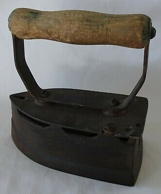 Antique Cast Iron and Wooden Coal Iron