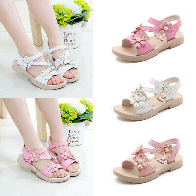 Toddler Infant Kid Baby Girl Pearl Bling Sequins Single Princess Shoes Sandals F
