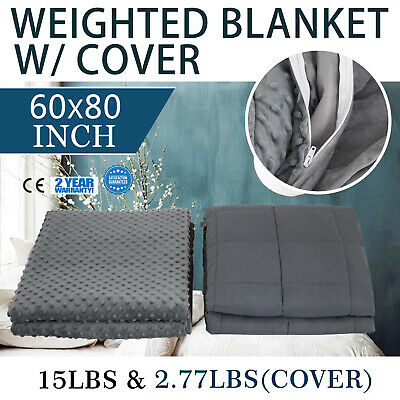 Weighted Blanket W/ Minky Cover Deep Relax Sleeping Gravity for Adult Men Women