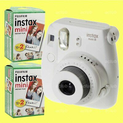 Fujifilm Instax Mini 8 Instant Film Camera (White) with 40 Sheets