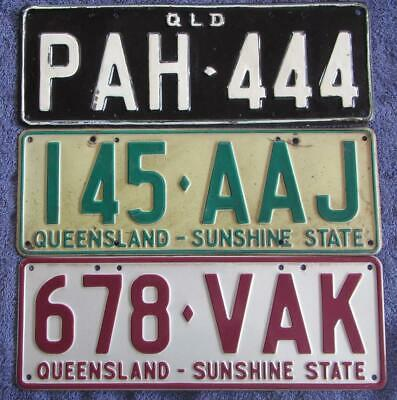 3 x QLD LICENSE/NUMBER PLATES
