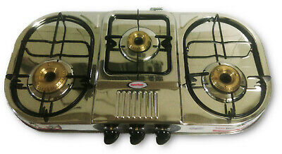 New Elegant Oval Shaped Domestic Triple 3 Burner Lpg Propane Gas Stove Cooktop