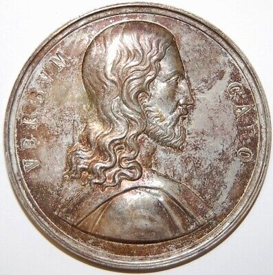 Silvered Bronze Religious Medal-Jesus Christ And Virgin Mary