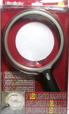 "UltraOptix LED Lighted Jumbo Magnifier - Round 5"" - 2X Lens w/ 6X Bifocal Insert"