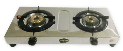 Small & Sleek Stainless Steel Cooktop 2 Two Brass Burners LPG Propane Gas Stove