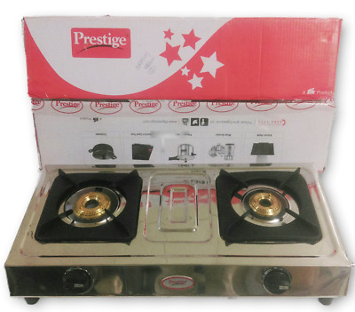 Prestige Stainless Steel 2 (Two) Brass Burners Lpg Propane Gas Stove Cooktop