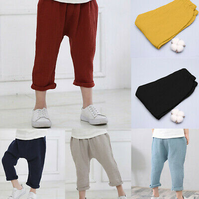 Toddler Kids Baby Boys Girl Linen Pleated Anti-mosquito Casual Harem Long Pants