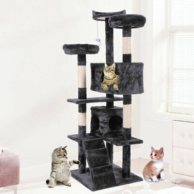 "60"" Cat Tree Tower Condo Furniture Scratching Post Pet Kitty Play House Black"