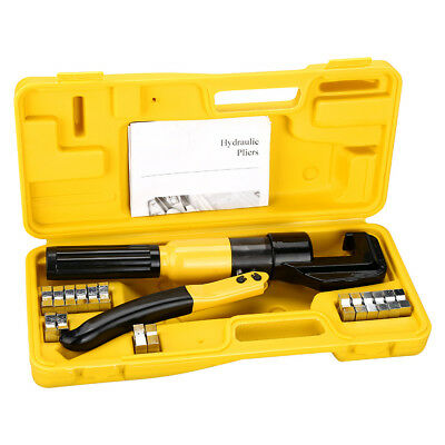 Tube Terminals Cable Crimping Tool Wire Force Hydraulic Crimper 10 Ton 8 Dies UK