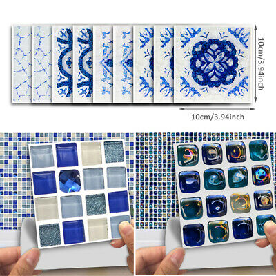 18Pcs Mosaic Tile Stickers Waterproof Wall Stickers Square 3D Marble DIY Decors
