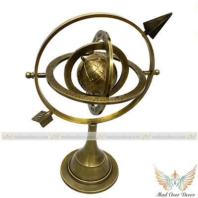 Vintage Nautical Brass Ring Sphere Armillary Globe Office Desk Decorative Item