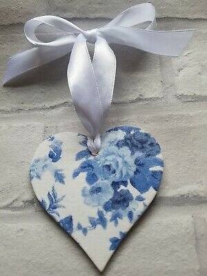 shabby Chic French Blue Floral Wooden heart 8cm