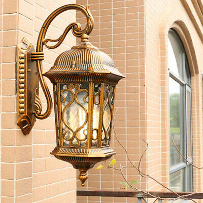 French Country Water Glass Metal Lantern Large Outdoor Gate Wall Lights Sconces