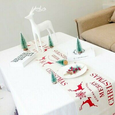 Christmas Elk/Wreath/Tree Tablecloth Table Runner Flag Cover Party Dinner-Decor