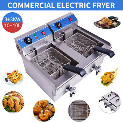 20L Stainless Commercial Fryer Electric Twin Basket 6KW Double Tank Fish Chips