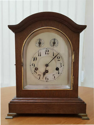 Antique Junghans Wurttemberg Westminster Chime Oak Case Bracket/Mantle Clock