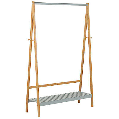 Hartleys Grey Wooden Clothes Rail Hanging Garment Rack Stand Shoe Storage Shelf