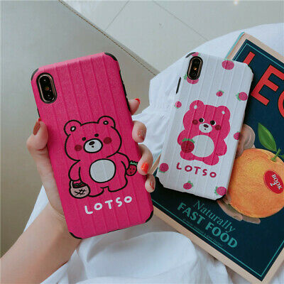 Emboss Cartoon Strawberry Bear Soft TPU Phone Case For iPhone X XR XS MAX HUAWEI