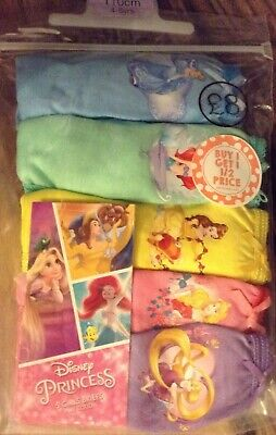 5 x Pairs of Girls DISNEY PRINCESSES Cotton Briefs/Knickers Sizes 5-7 Years