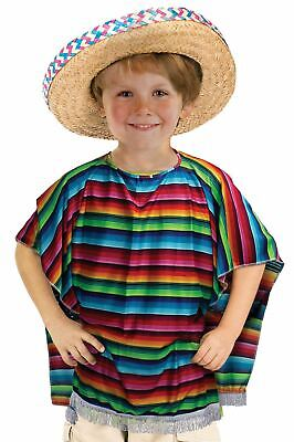 a360a474 Kids Boys Unisex Mexican Spanish Poncho Fancy Dress Western Cowboy Costume  New