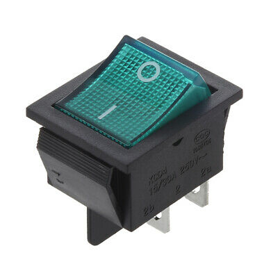 Interruptor Basculante 4 Pin DPST ON/OFF 15A 30A 250V CA 28x21mm Verde W2G5