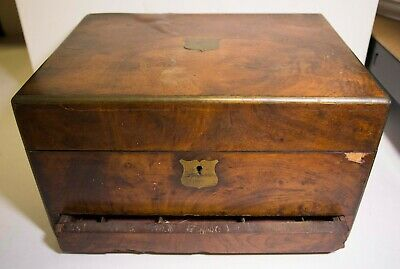 ANTIQUE WOODEN JEWELLERY jewelry BOX VANITY CASE WITH DRAWER - FOR RESTORATION