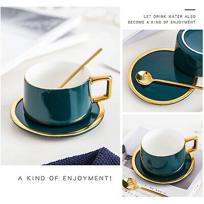 3 Piece Ceramic Tea / Coffee Cup with Spoon & Saucer Set Beautiful Gift Box Set