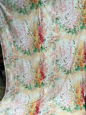 "Vintage French Floral Fabric Cotton Upholstery curtains ""Lupins"" 1980s-2m40x1m50"
