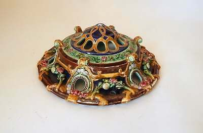 Antique French 'Suspension' Hanging Lamp in Majolica