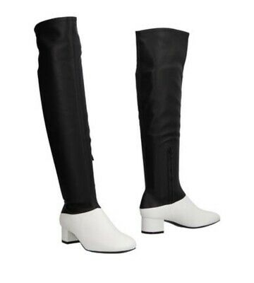 6a772e8e43ba CÉLINE KNEE HIGH boots in black soft leather zip triangle heel Size ...