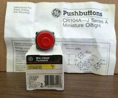 General Electric CR104A3103 Red Mini Oiltight Pushbutton