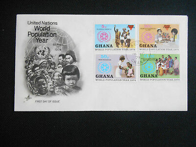 Ghana 1974 FDC World Population Year SG 730-733 Family, Immunization, Census