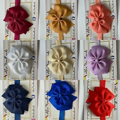 Baby Headbands Girls Hair bands Newborn 9 CM Bow Toddler UK Handmade Seller+ Lot