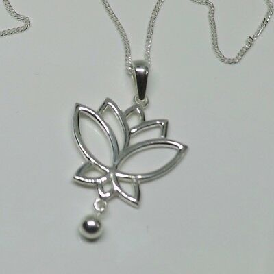 cd65f39e6 Sterling 925 Silver Lotus Flower Pendant Necklace Yoga Jewellery Lotus  Necklace