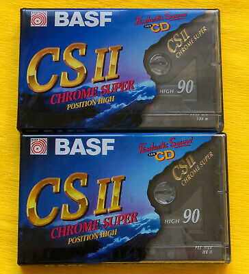 2x BASF Chrome Super II 90 Cassette Tapes 1995 + OVP + SEALED +