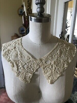 Fine Silk ~linen 1800's Ornate Floral French Collar Ecru Large Needle Lace