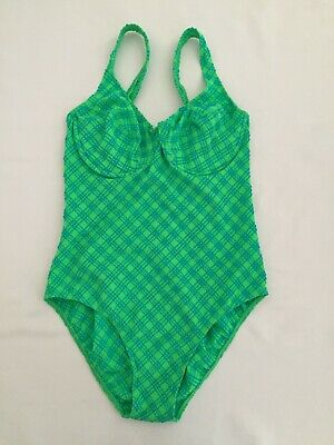 aed472f84d St Michael @ M&S Vintage Textured Bright Green U'wired Swimming Costume ...